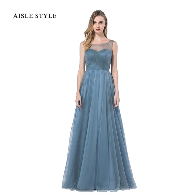 Aisle Style Popualr Dusty Blue Bridesmaid Dresses 2017 Long Rustic Wedding  Illusion Neck Bridesmaid Dress For