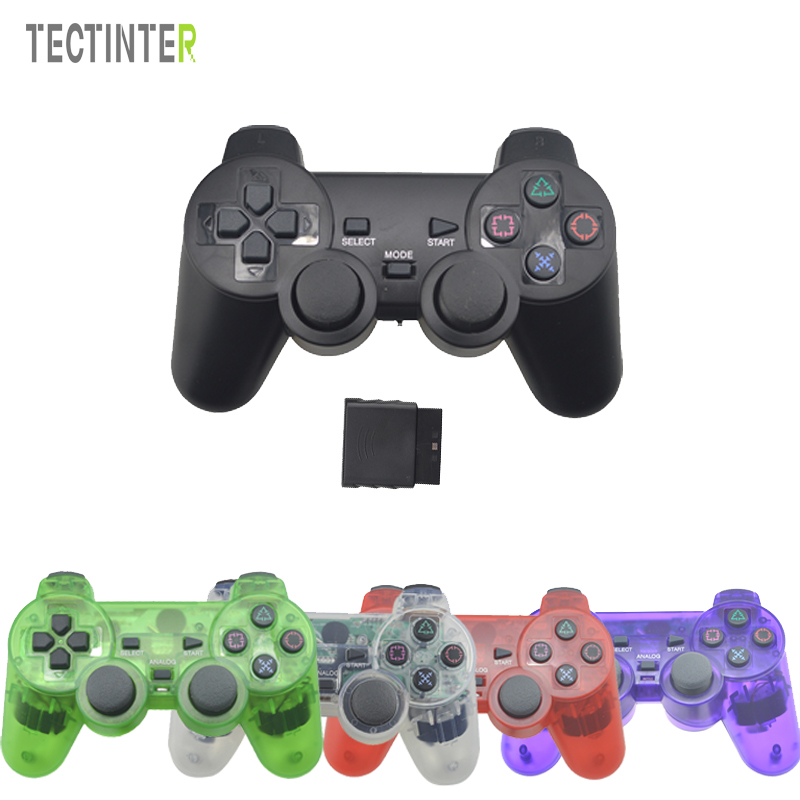 Transparente Farbe Bluetooth Wireless Controller Für Sony Playstation 2 Gamepad 2,4G Vibration Controle Für Sony PS2 Joystick