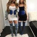 2017 Fashion Slim lace up denim cummerbund Sexy chic belt corset Zipper fashion women Body Waistband
