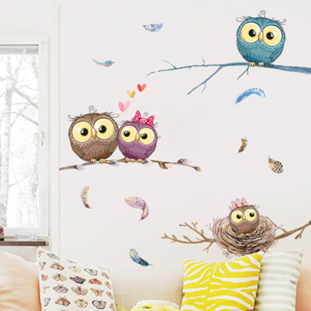 Cartoon Owl Family on Tree Branches Wall Stickers for Kids Babies Infant Room Decor Colorful Feather Wall Mural Poster Art