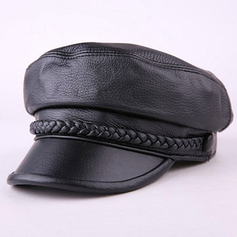 XdanqinX Genuine Leather Hat Elegant Women 39 s Sheepskin Leather Army Military Hats 2019 Autumn New Men 39 s Flat Caps Snapback Cap in Men 39 s Military Hats from Apparel Accessories