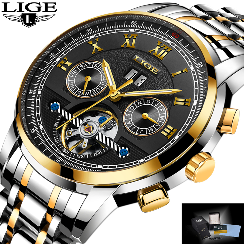 LIGE Mens Watches Top Brand Luxury Automatic Mechanical Watch Men Full Steel Business Waterproof Sport Watches Relogio Masculino lige top brand luxury men watches mechanical automatic watch men full steel business waterproof sport watch relogio masculino
