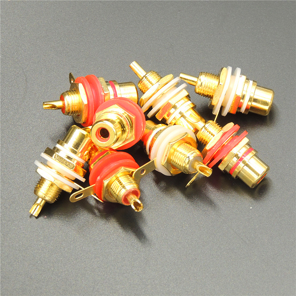 Solder Type Red Chassis Mount Gold Plated Female RCA Jack Quantity is One
