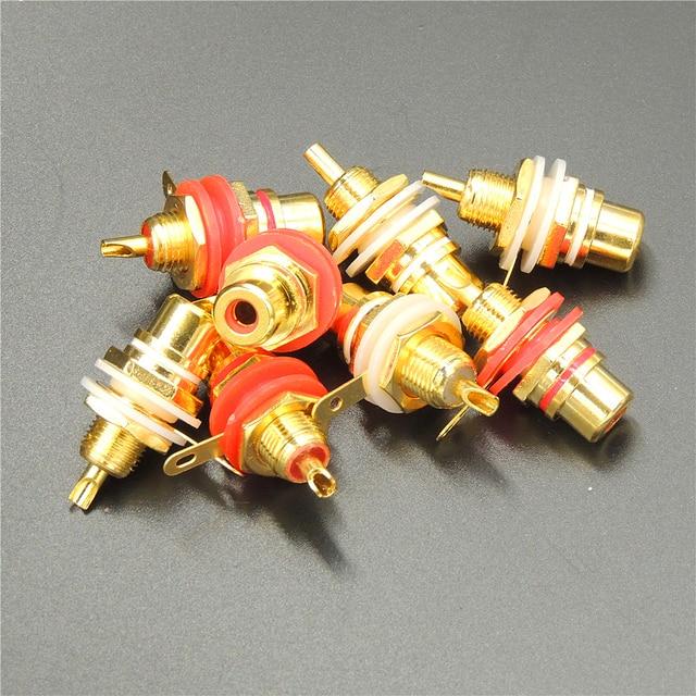 Swell 20Pcs Lot Panel Mount Gold Plated Rca Female Plug Jack Audio Socket Wiring Cloud Mangdienstapotheekhoekschewaardnl