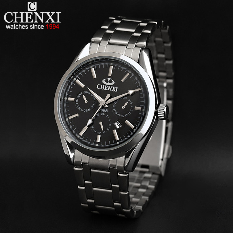 AliExpress selling men's stainless steel watch With calendar three decorative circle CX-006B Date Quartz Watches