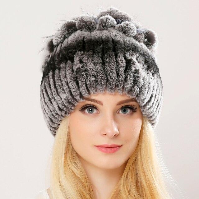 696e420dcc Prawdziwe Rex kapelusz z futra króliczego dla kobiet z Silver Fox futro  kwiaty Top z dzianiny czapki moda kobiety na co dzień prawdziwe futro  ciepła ...