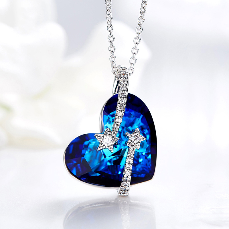1289ac240e3ca BAFFIN Blue Heart Pendant Necklace Crystals From SWAROVSKI Silver Color  Chain Maxi Collares For Women Mother Chic Gift Jewelry-in Pendant Necklaces  ...