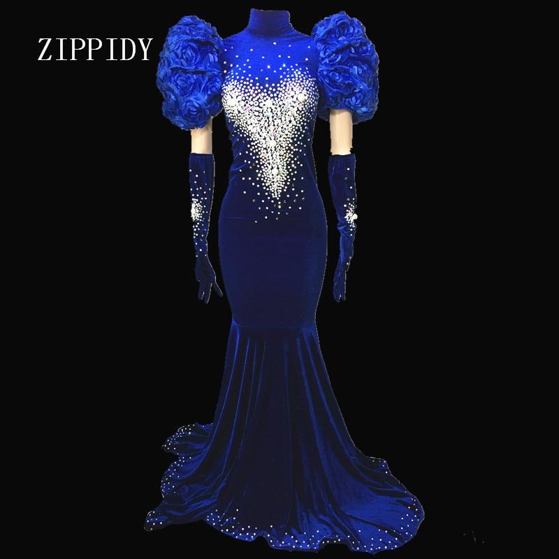 Fashion Evening Celebrate Tail Dresses Rhinestones Dress Sexy Long Train Birthday Dress Stage Costume Prom Performance