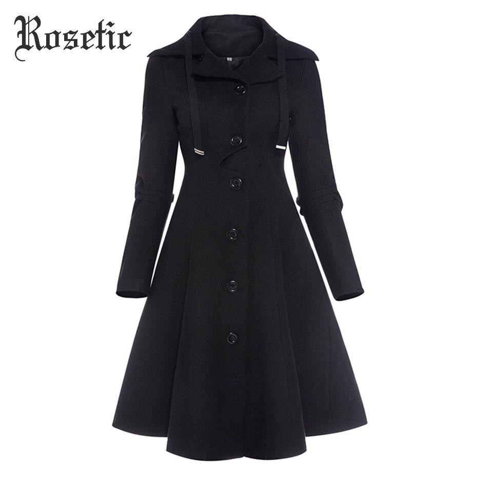 Rosetic Готический Для женщин Зимняя мода кнопки однобортные пальто с длинным рукавом отложным воротником Тонкий шерстяное пальто