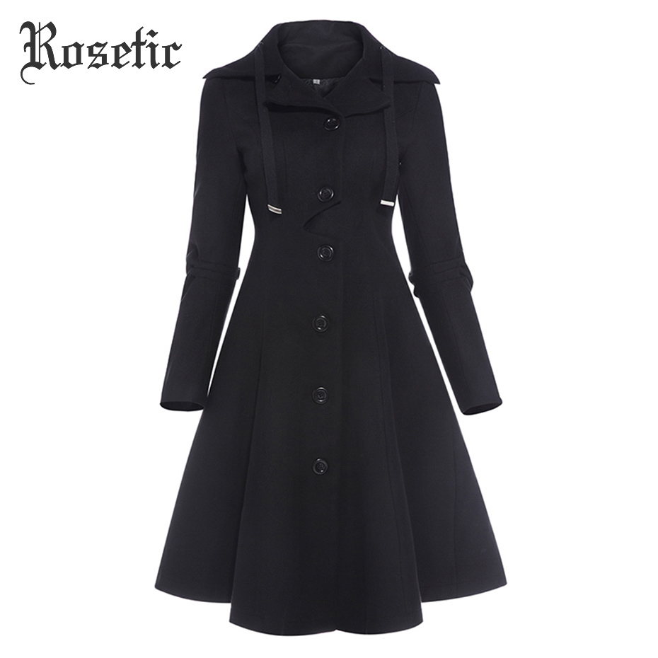 Rosetic Gothic Women Winter Fashion Buttons Single-Breasted Coats Long Sleeve Turn-Down Collar Slim Woolen Blends Coat