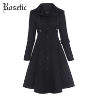 Rosetic Gothic Women Winter Fashion Buttons Single Breasted Coats Long Sleeve Turn Down Collar Slim Woolen Blends Coat