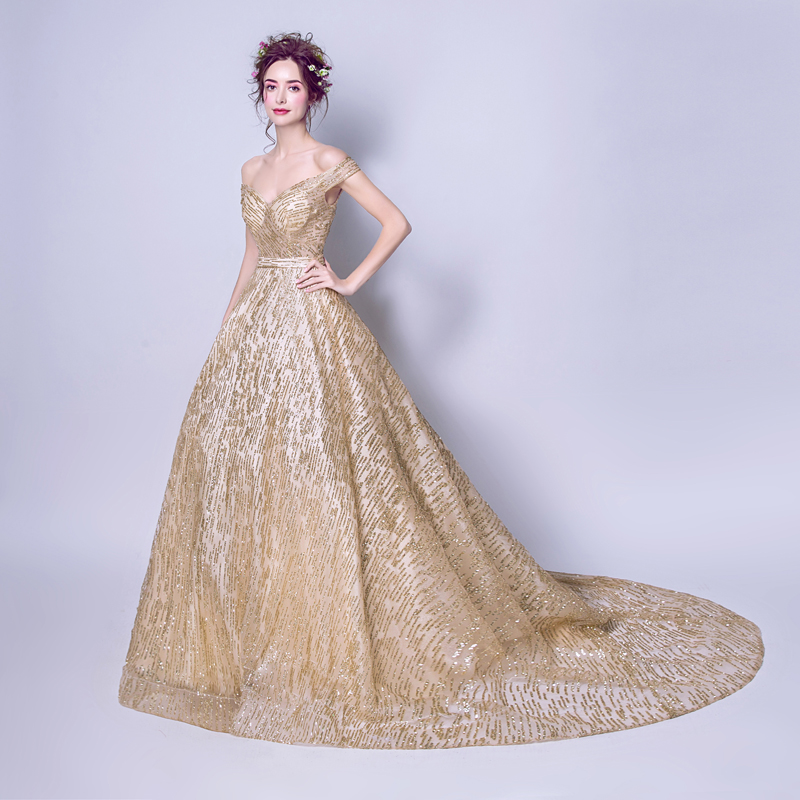 fe396ca03 AXJFU bright stars of modern fantasy gold evening dress gorgeous golden bride  evening dress dinner toast suit 8191-in Evening Dresses from Weddings &  Events ...