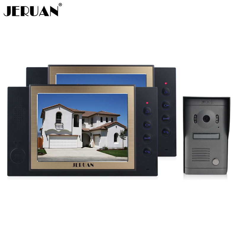 JERUAN 8 inch video door phone Metal panels camera with video recording and taking photo 1 Camera 2 monitors system rain-proof jeruan 8 inch video door phone high definition mini camera metal panel with video recording and photo storage function