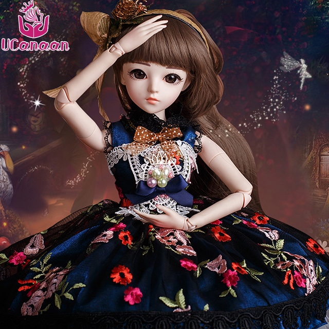 UCanaan 1/3 BJD SD Girl Doll Brown Eyes With Beauty Dress Wig Shose Makeup Dolls For Girls Children Toys DIY Juguetes KD Doll