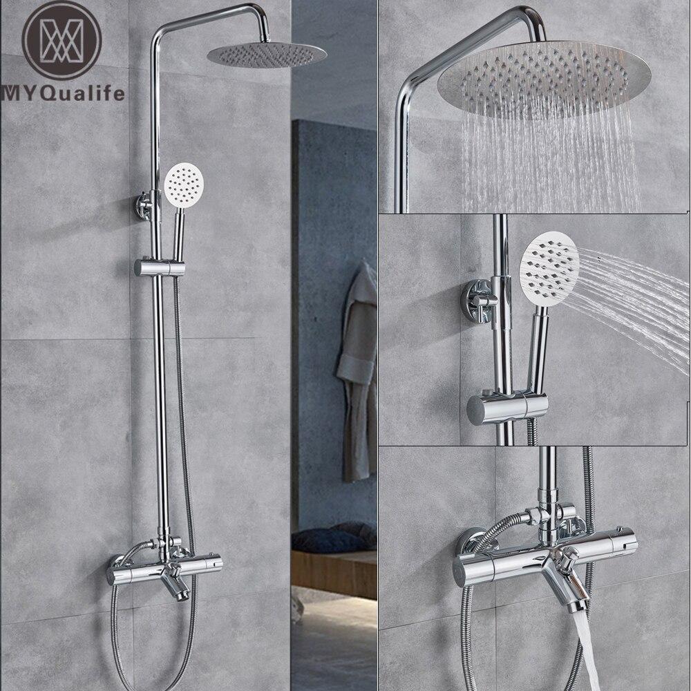 Thermostat Dusche Mixer Set Dual Griff Chrom Thermostat Mischer Dusche Wasserhahn Wand Montiert Edelstahl Niederschlag Dusche Hea
