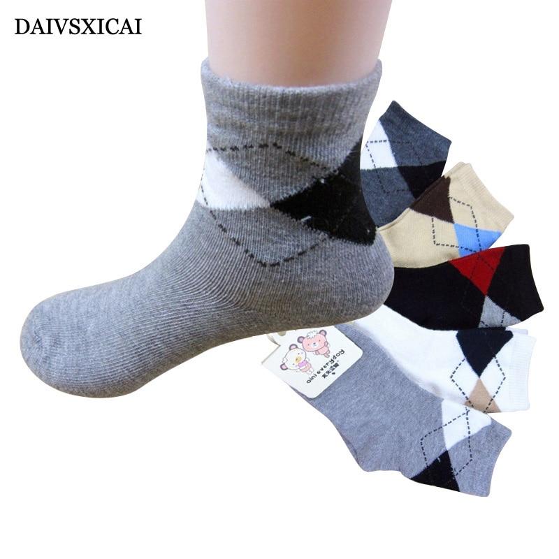 Daivsxicai Kinder Socken Junge Mode Britischen Stil Baby Socken Für Kinder Casual Raute Baumwollsocken Kinder 5 Paar Kein Label 100% Original