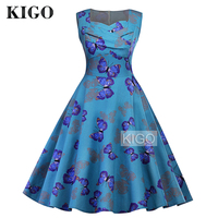 KIGO Retro Style Women Vintage Dress 50s 60s Sleeveless Blue Butterfly Print Dress Elegant Big Swing