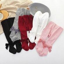 Колготки для новорожденных девочек от 0 до 3 лет, детские леггинсы с бархатной лентой и бантом для девочек, колготки для малышей, детские чулки