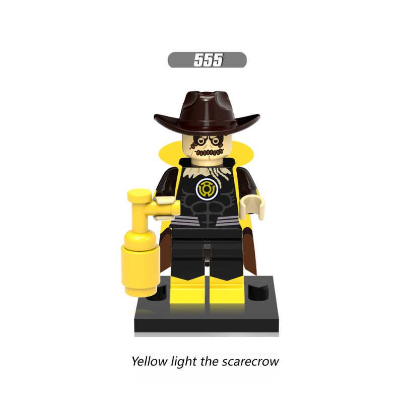 Única venda super heróis luz amarela o espantalho preto adam verde lanten firestorm blocos de construção crianças presente brinquedos