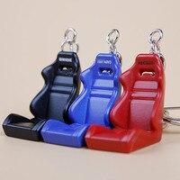 ロット10ピースメタル車部品チューニングレーシングカー座椅子キーホルダーキーチェーンリング3色黒赤青