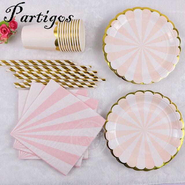 65 pcs rose vert Jetable tasse de Papier plaque de papier De Mariage Favors Potable Pailles table napink Partie Fournitures