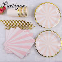 65pcs pink green Disposable Paper cup paper plate Wedding Favors Drinking Straws table napink Party Supplies