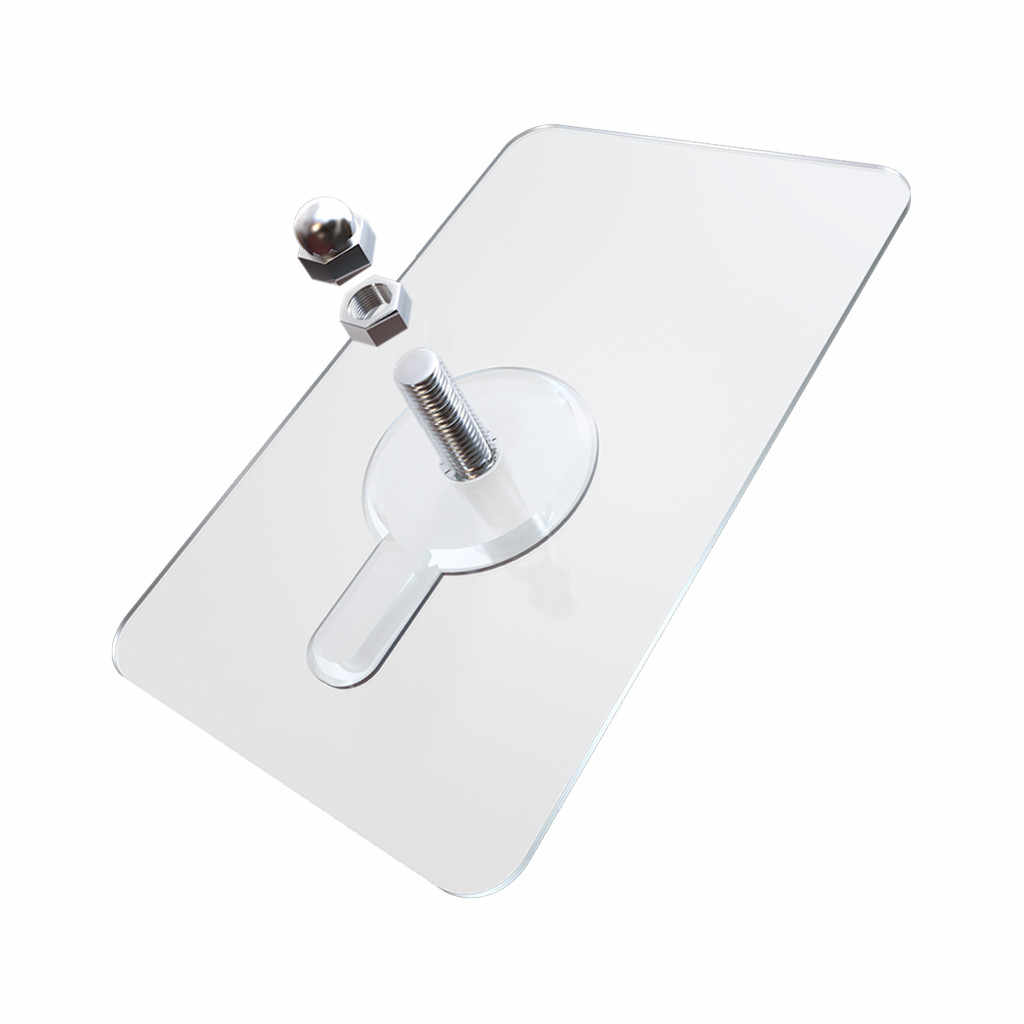 1 pc de PVC adhesivo uñas cartel pared no dejar rastro palo pared gancho transparente duradero adhesivo fuerte no dejar rastro tornillo de la pared de uñas # YJ