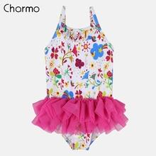 Charmo Baby Girls One Piece Swimsuits Flower Striped Print Swimwear Ruffle Kids Cute Bikini Adjustable Strap Beach Wear Dress