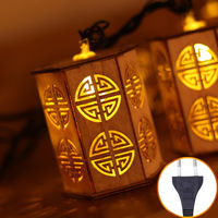 30 Lamp Chinese Style Wooden Hollow Lantern LED Plug LED Strip Light Christmas Decorations for Home New Year Decoration Natal