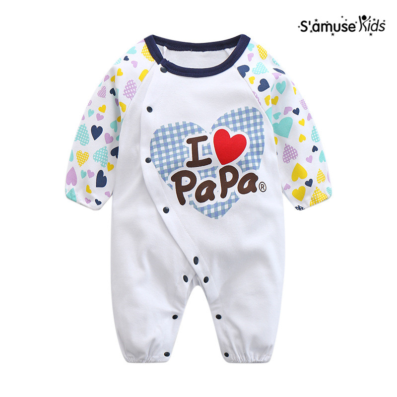 c50c3a785 Newborn Baby Boy Romper Pink Blue I Love Mama Papa Baby Rompers ...