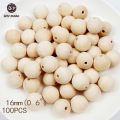 16mm Round Maple Wood Teething Beads 100pc Unfinished Car Seat Accessories Baby Seat Hanging Materials Wooden Teether