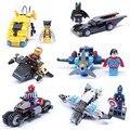 6 unids bloques de creación de Super héroes capitán américa Spider Man Iron Man Wolverine Batman Superman con coche juguetes de bloques de construcción