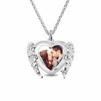AILIN Photo Locket For Women Angel Wings Necklace Valentines Day Gift Color Photo Pendant
