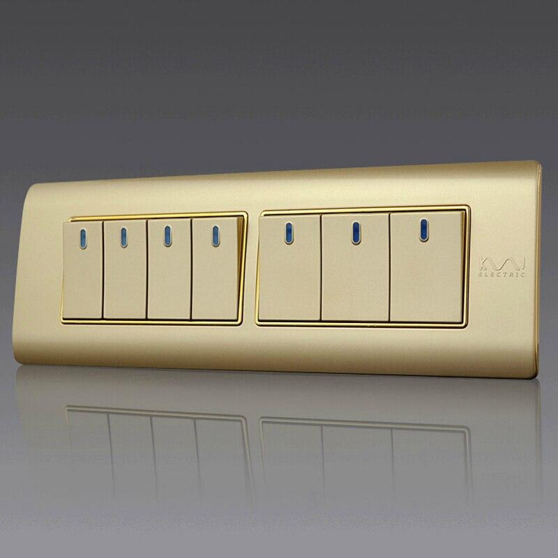 Free Shipping, Kempinski Luxury 7 Gang 2 Way Wall Switch, Light Switch, 197*72mm, AC 110~250V, C5 series kempinski wall switch 3 gang 1 way light switch champagne gold color special texture c31 sereis 110 250v popular