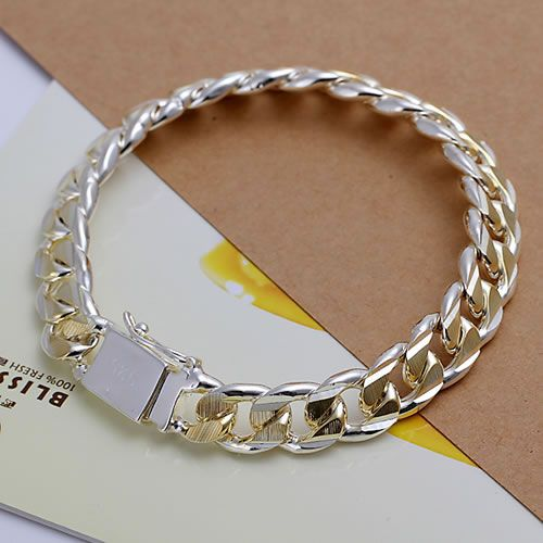 Guaranteed 100% 925 Sterling Silver Texture Bracelet,Mens Jewelry,Free shipping wholesale H091