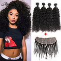 Hot Malaysian Kinky Curly Virgin Hair with Closure Sexy Formula Malaysian Curly Hair with 13x4 Lace Frontal Closure with Bundles