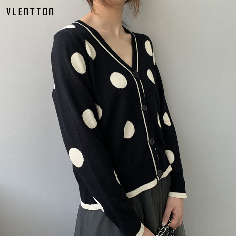 2019 New vintage Female Knitted cardigan sweater V Neck Long Sleeve Black coat women Spring autumn dot Short knit jacket female in Cardigans from Women 39 s Clothing