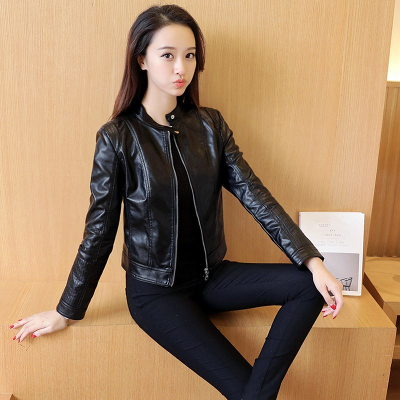Fashion Autumn Women Solid Single Pimkie Pu   Leather   Jackets One Button Motorcycle Short Jacket Casual Slim Basic   Leather   Outwear