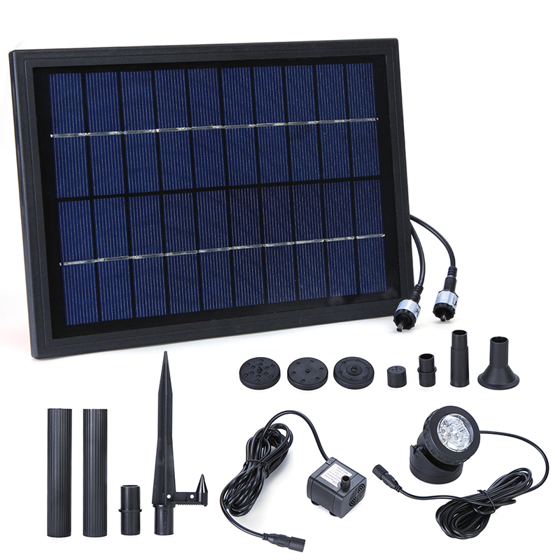 Brushless Solar Power Water Pump Decorative Fountain Water Pump with 6 LED Spotlight for Garden Pond Pool Water Cycle 10V 5W