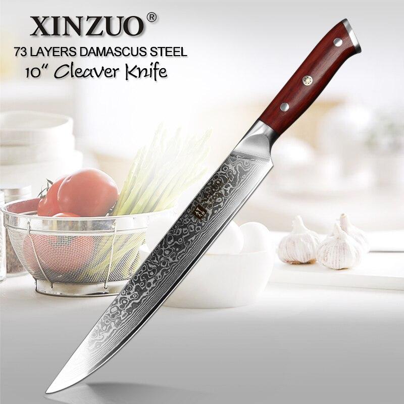"Xinzuo 10 ""cleaver 고기 칼 vg10 다마스커스 강철 부엌 칼 로즈 우드 손잡이를 가진 가장 새로운 직업적인 요리사 초밥 긴 칼-에서주방 칼부터 홈 & 가든 의  그룹 1"