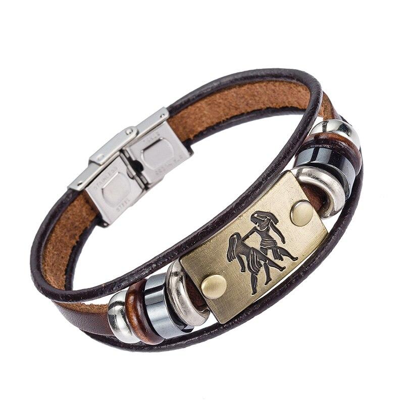 Alibaba Heißer Verkauf Europa Mode 12 tierkreiszeichen Armband Mit Edelstahl Schließe Leder Armband für Männer