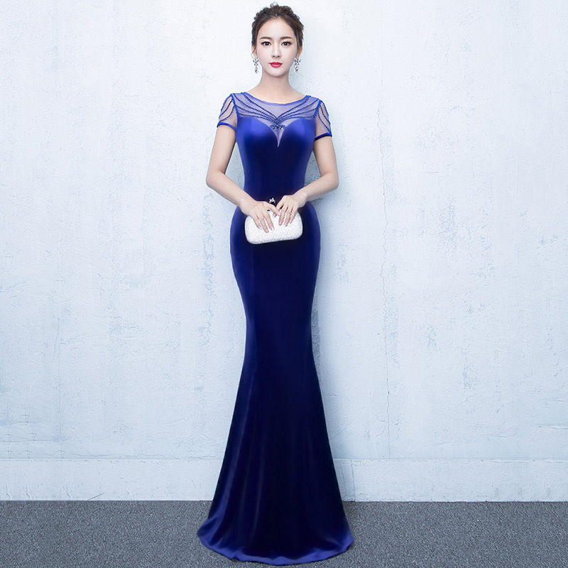Royal Blue Transparent Mesh&Cotton O Neck Short Sleeves Beading Sequins Floor-Length Mermaid Sexy Dress Club Wear Party Dresses