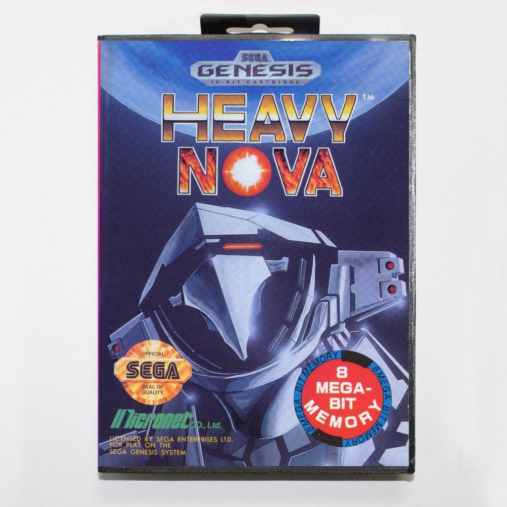 New 16 bit MD game card - heavy nova with Retail box For Sega genesis system