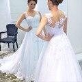 White Tulle Lace Applique Vestido De Noiva 2016 A Line Wedding Dresses Beaded Wedding Dresses Robe De Mariage Button z120501