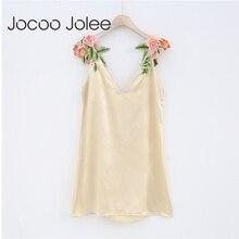 Jocoo Джоли Sexy Глубокий v-образным вырезом платье для Для женщин цветок Вышивка спагетти ремень платье Высокая Талия летнее платье Новинка 2018 года