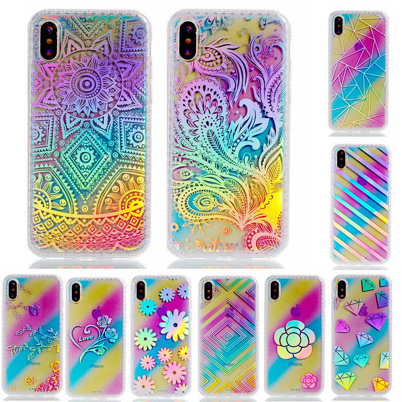 Luxury Case Cover For Apple iPhone X Case SiliconeSoft TPU IMD Pattern Diamond Flower Mobile Phone Bag For iPhone Ten Coque Capa