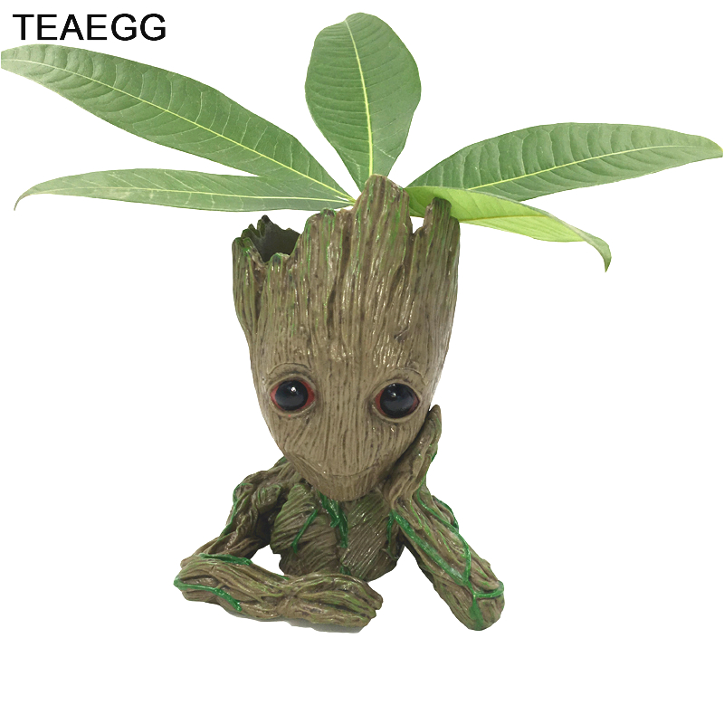 Antistrss Toys Baby Tree Man Galaxy Guardians Action Figure Flowerpot Hero Grootted Doll Phoneholder Grunt Anime Figurine Grande guardians of the galaxy 2 characters vinyl doll kawaii 10cm action figure toys