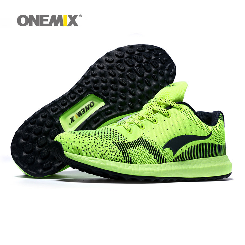a6a3dabf5 US $76.99 |Onemix Free Ship Women Running Shoes For Men Athletic Trainers  Shiny Green Zapatillas Sport Shoe Light Outdoor Walking Sneakers-in Running  ...