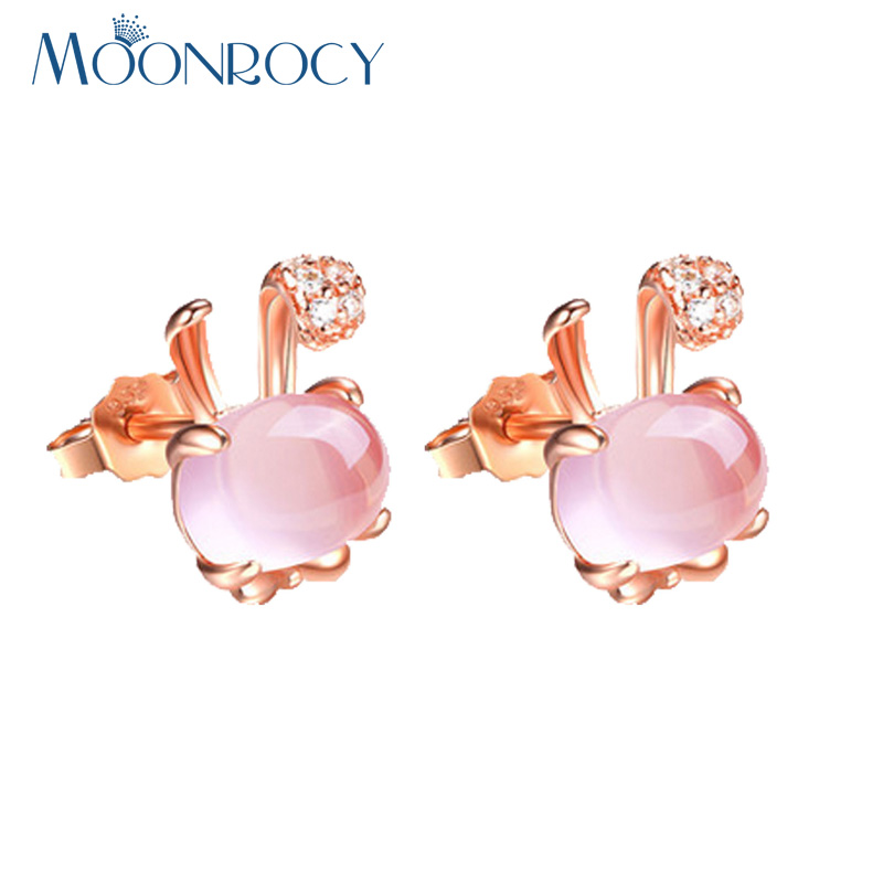 MOONROCY Drop Shipping Rose Gold Color Cubic Zirconia Ross Quartz Cute Rubbit Animal Pink Opal Earrings for Women Girls