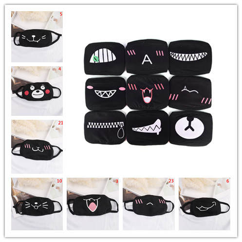 New 1pc Unisex Cartoon Funny Mouth Mask Black Cotton Half Anti-bacterial Dust Mouth Mask Cute Winter Warm Masks Multi Style